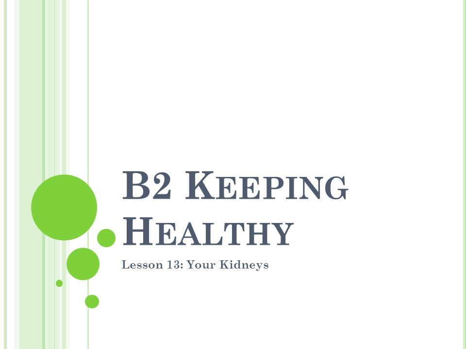 B2 K EEPING H EALTHY Lesson 13: Your Kidneys