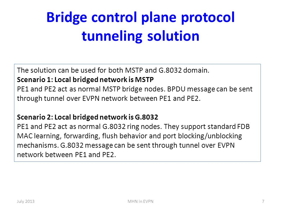Bridge control plane protocol tunneling solution July 2013MHN in EVPN7 The solution can be used for both MSTP and G.8032 domain.