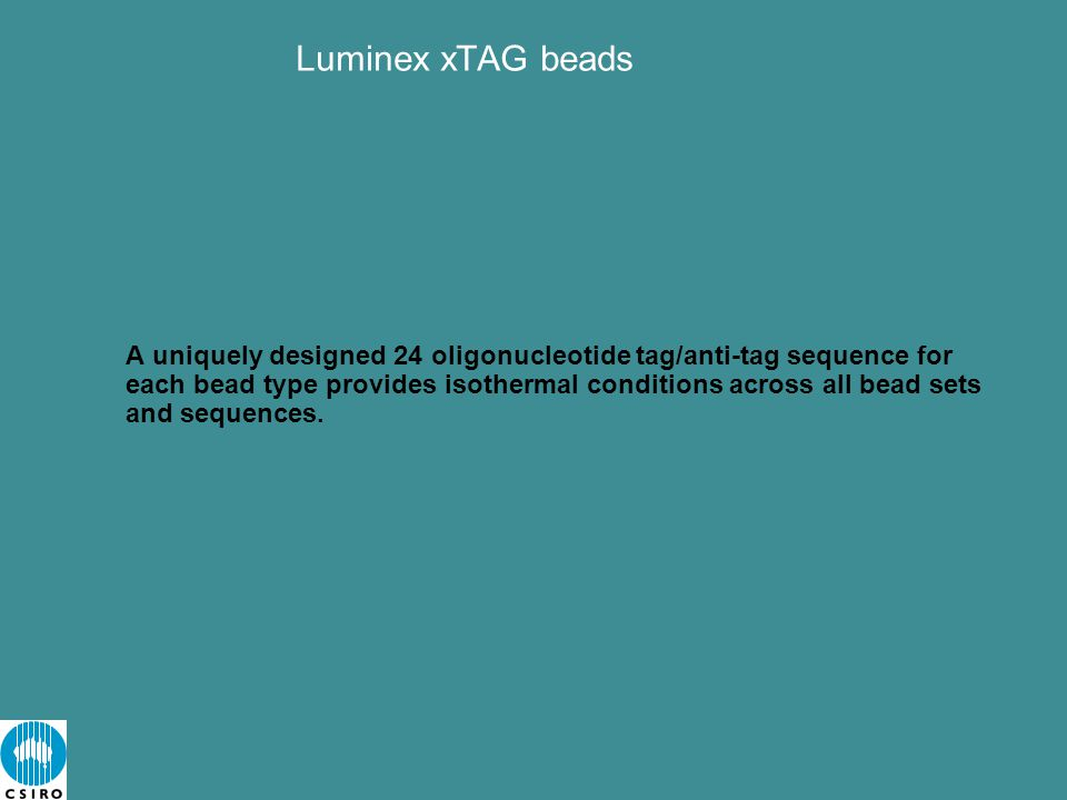 A uniquely designed 24 oligonucleotide tag/anti-tag sequence for each bead type provides isothermal conditions across all bead sets and sequences.