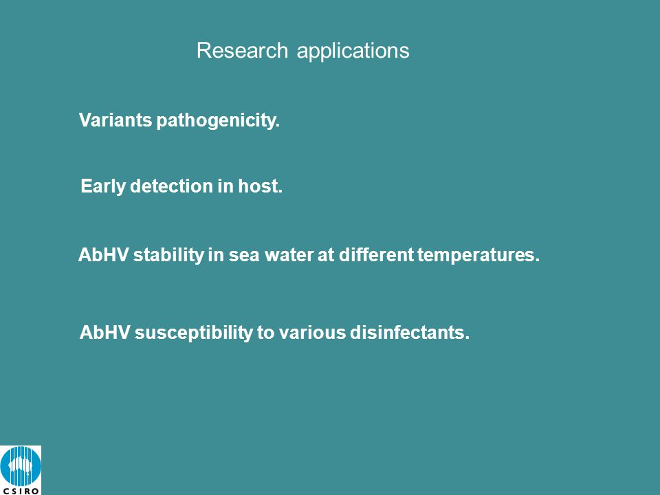 Research applications Variants pathogenicity.Early detection in host.