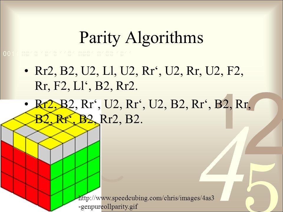 Parity Algorithms Rr2, B2, U2, Ll, U2, Rr', U2, Rr, U2, F2, Rr, F2, Ll', B2, Rr2.