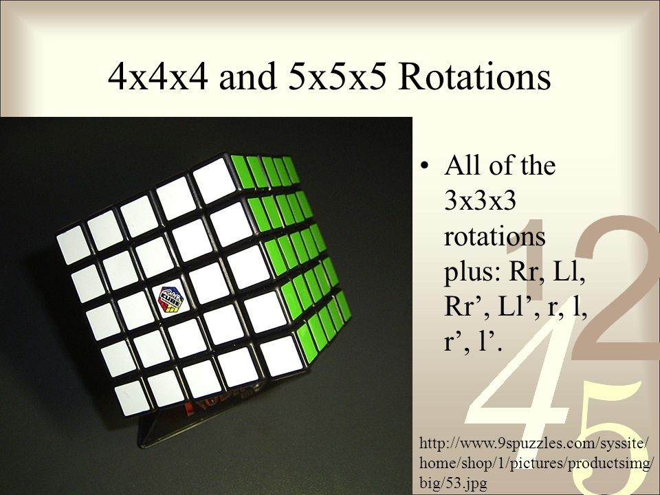 4x4x4 and 5x5x5 Rotations All of the 3x3x3 rotations plus: Rr, Ll, Rr', Ll', r, l, r', l'.