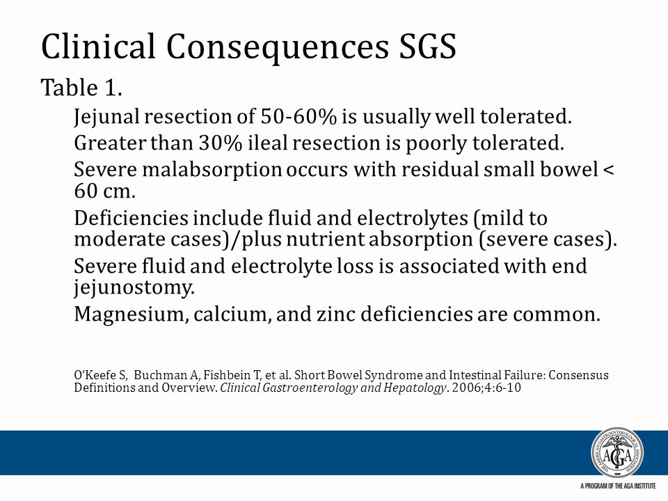 Clinical Consequences SGS Table 1. Jejunal resection of 50-60% is usually well tolerated. Greater than 30% ileal resection is poorly tolerated. Severe