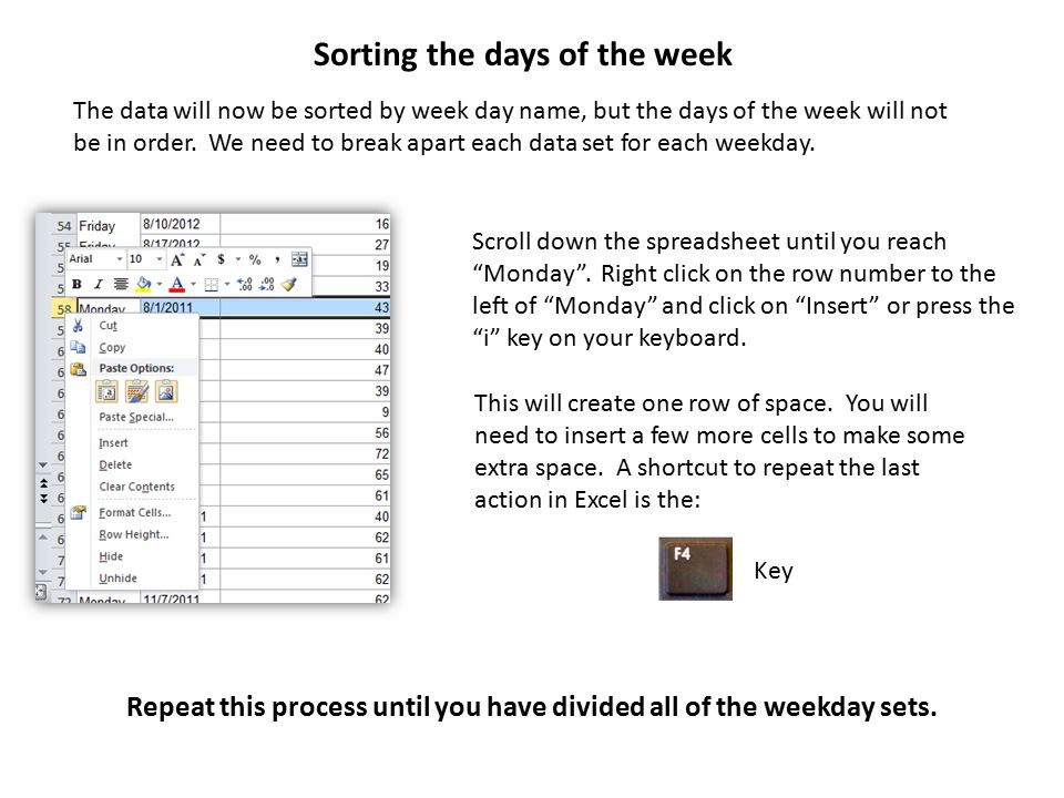 Scroll down the spreadsheet until you reach Monday .
