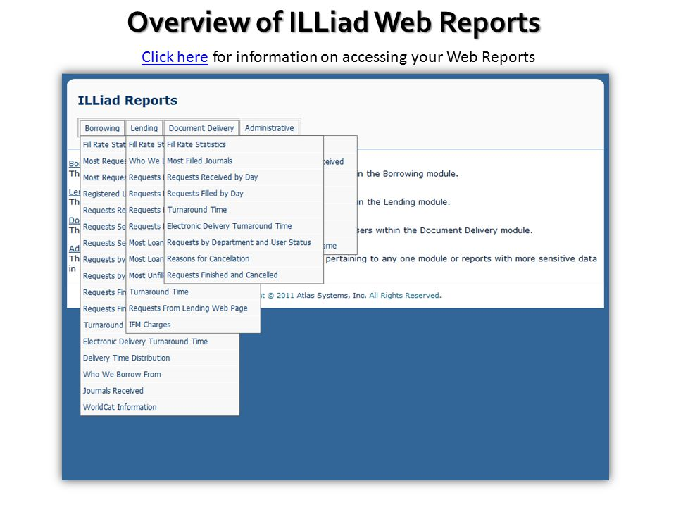 Overview of ILLiad Web Reports Click hereClick here for information on accessing your Web Reports