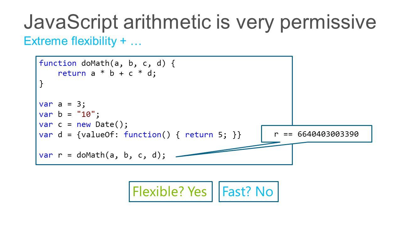function doMath(a, b, c, d) { return a * b + c * d; } var a = 3; var b = 10 ; var c = new Date(); var d = {valueOf: function() { return 5; }} var r = doMath(a, b, c, d); r == 6640403003390 Flexible.