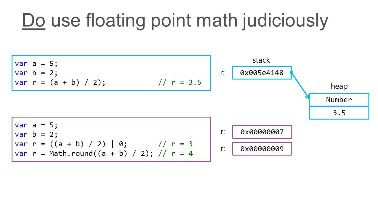 var a = 5; var b = 2; var r = ((a + b) / 2) | 0; // r = 3 var r = Math.round((a + b) / 2); // r = 4 var a = 5; var b = 2; var r = (a + b) / 2); // r = 3.5 stack 0x005e4148 r: 0x00000007 r: 0x00000009 r: Number 3.5 heap
