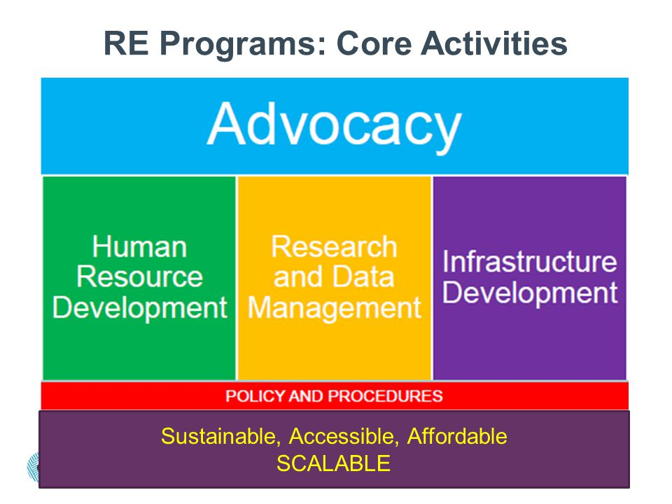 RE Programs: Core Activities Sustainable, Accessible, Affordable SCALABLE