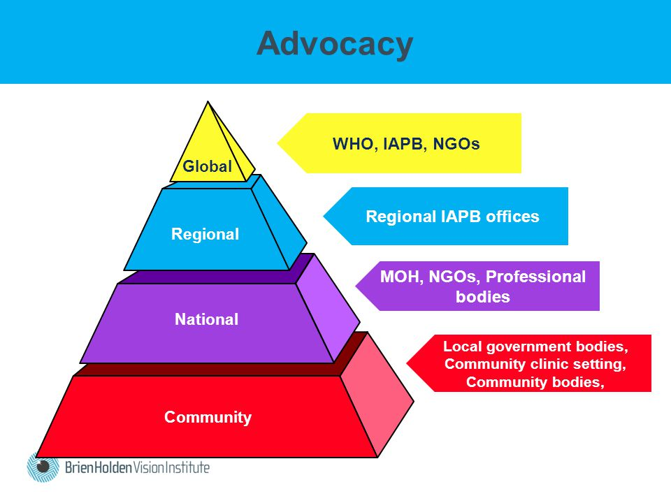 Community Regional National Global WHO, IAPB, NGOs Regional IAPB offices MOH, NGOs, Professional bodies Local government bodies, Community clinic setting, Community bodies, Advocacy