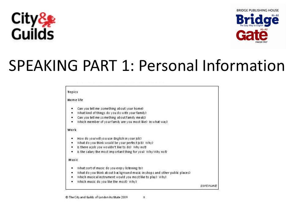 SPEAKING PART 1: Personal Information