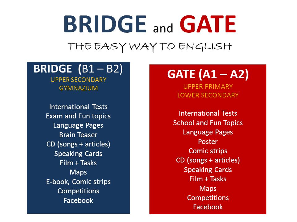 BRIDGE and GATE THE EASY WAY TO ENGLISH BRIDGE (B1 – B2) UPPER SECONDARY GYMNAZIUM International Tests Exam and Fun topics Language Pages Brain Teaser