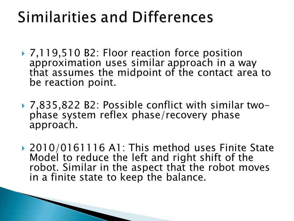  7,119,510 B2: Floor reaction force position approximation uses similar approach in a way that assumes the midpoint of the contact area to be reactio
