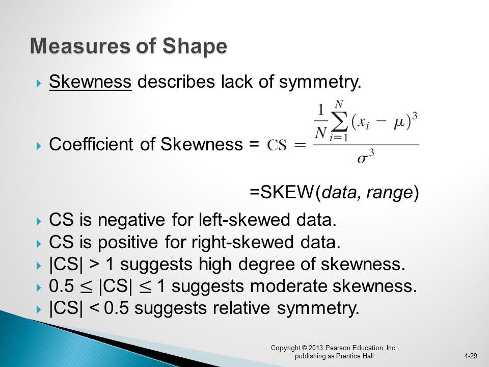 Skewness describes lack of symmetry.