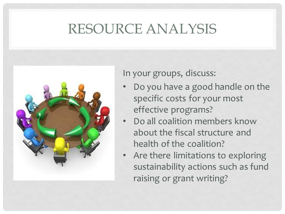 RESOURCE ANALYSIS In your groups, discuss: Do you have a good handle on the specific costs for your most effective programs? Do all coalition members