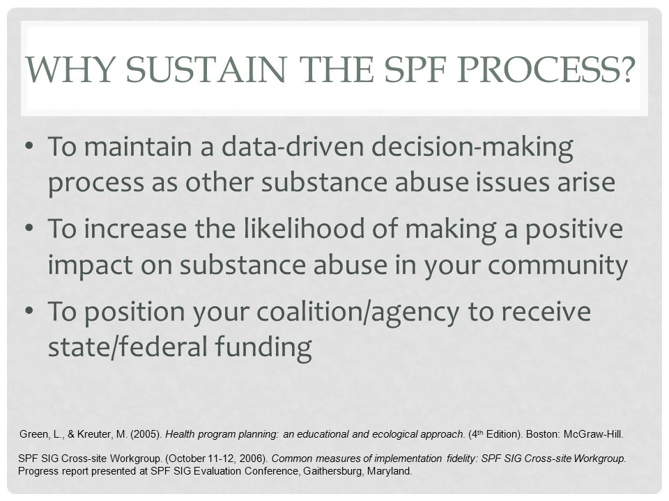 SUMMARY PLOT: WASHINGTON SIG COMMUNITY OUTCOMES BY IMPLEMENTATION LEVEL 2000-2002 Decreases in Substance Use among 8th Graders by Poor Average and Best Implementers Correlation between higher levels of implementation and better outcomes (substance abuse decreases) was.94 Poor SPF ImplementersAverage SPF Implementers Best SPF Implementers Low/LowLow/MediumLow/HighMedium/LowMedium/MediumMedium/HighHigh/LowHigh/MediumHigh/High Same/WorseSameLow/SameMixed/LowMixedMany HighAll High LowOutcomesHigh Poor SPF Implementation Best SPF SIG Cross-site Workgroup.