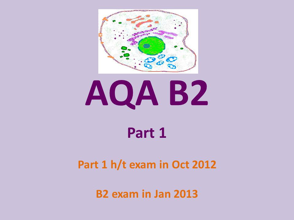 AQA B2 Part 1 Part 1 h/t exam in Oct 2012 B2 exam in Jan 2013