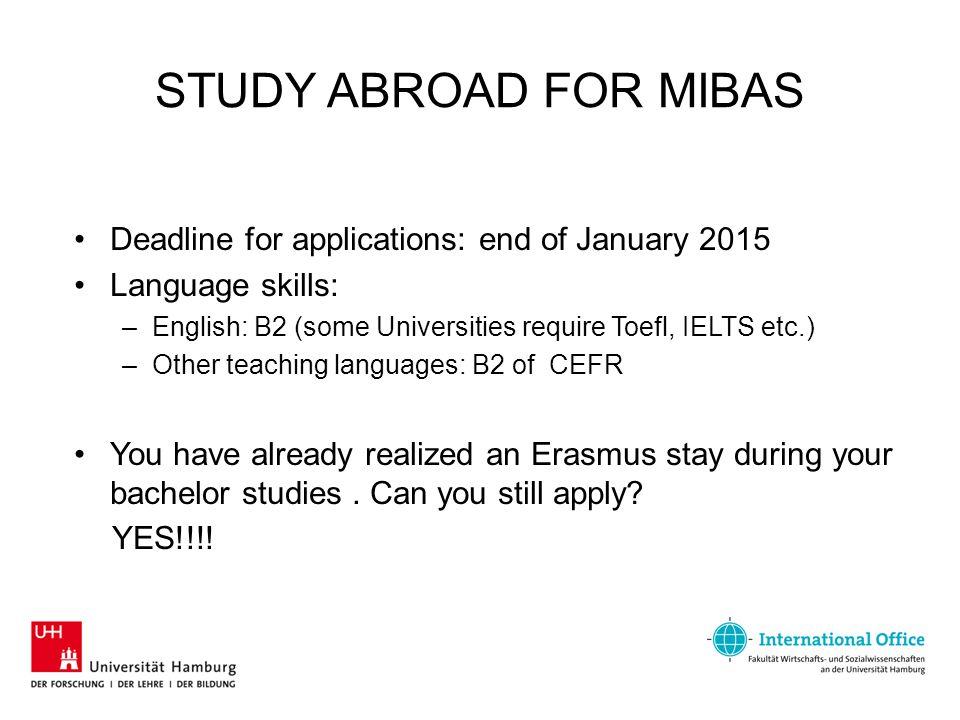 STUDY ABROAD FOR MIBAS Contact International Office for MIBAS Andrea Brückmann (Wednesday 10:00 – 12:00) –Room 1071, Von-Melle-Park 5, entrance C Tel.