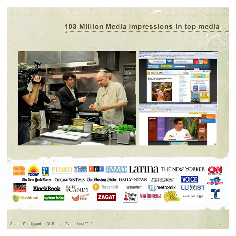103 Million Media Impressions in top media Source: Data based on GL Premier Event. June 2010. 8
