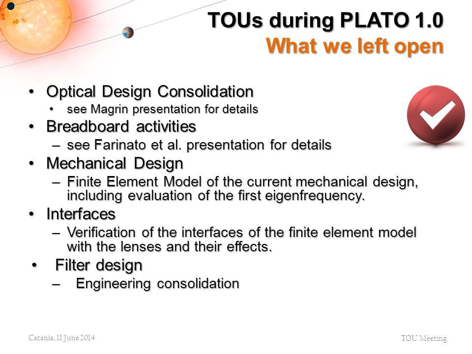 Optical Design ConsolidationOptical Design Consolidation see Magrin presentation for detailssee Magrin presentation for details Breadboard activitiesB