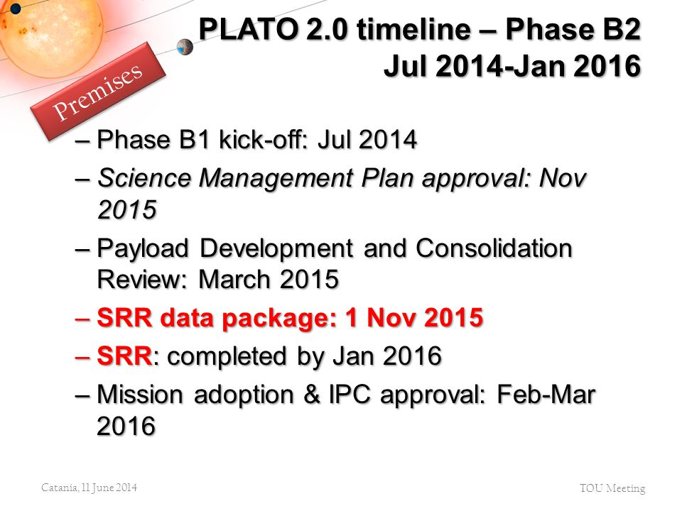 –Phase B1 kick-off: Jul 2014 –Science Management Plan approval: Nov 2015 –Payload Development and Consolidation Review: March 2015 –SRR data package: