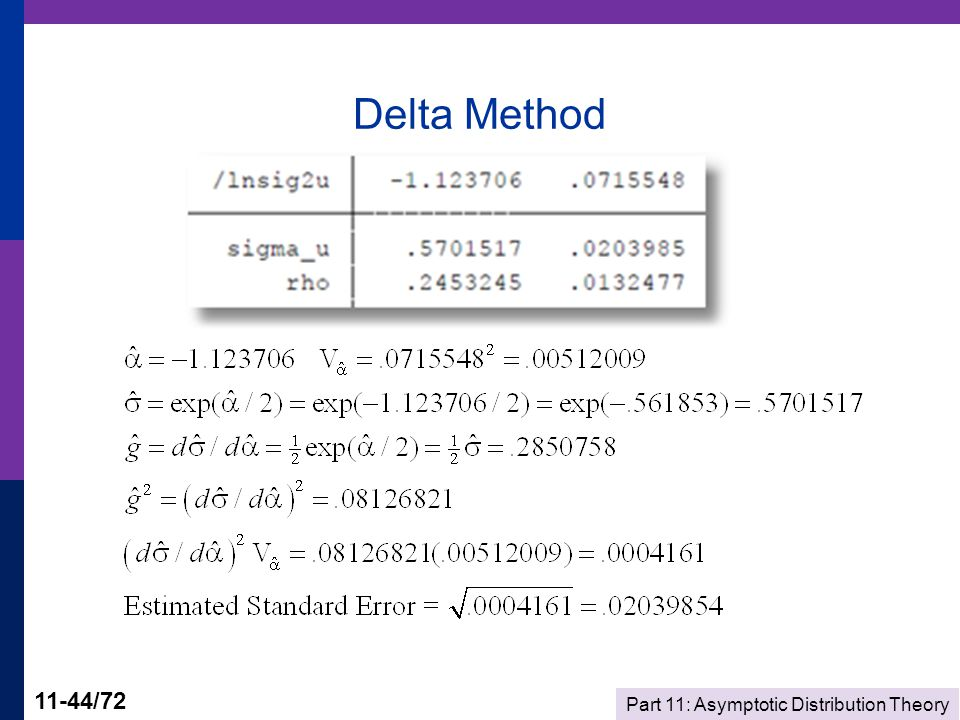 Part 11: Asymptotic Distribution Theory 11-44/72 Delta Method