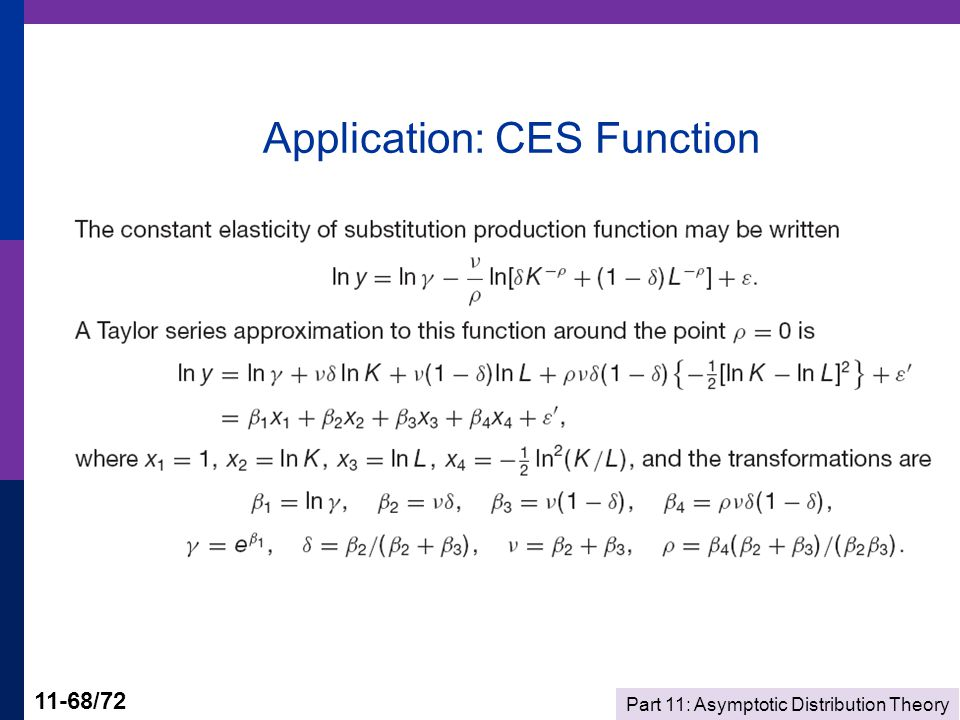 Part 11: Asymptotic Distribution Theory 11-68/72 Application: CES Function