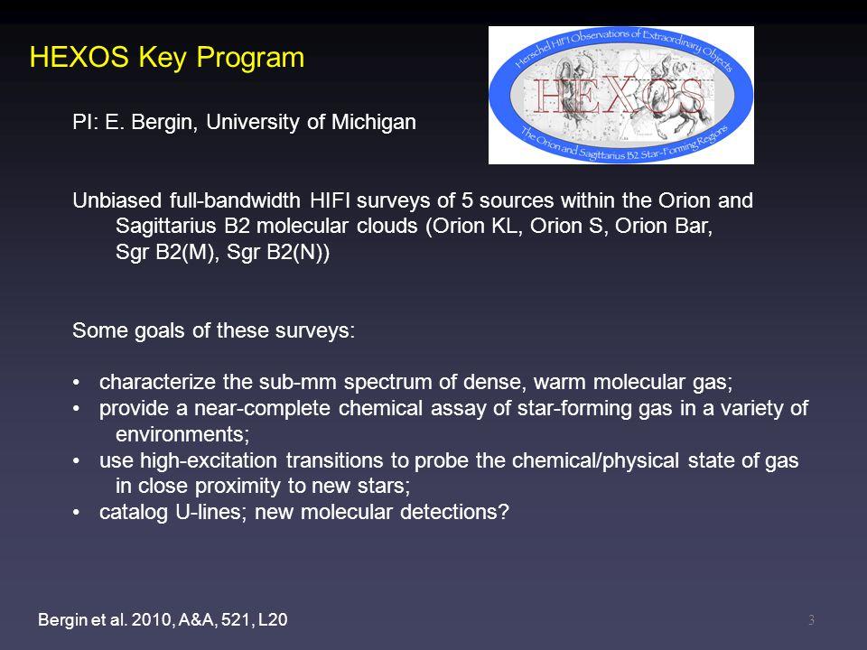 3 HEXOS Key Program PI: E. Bergin, University of Michigan Unbiased full-bandwidth HIFI surveys of 5 sources within the Orion and Sagittarius B2 molecu
