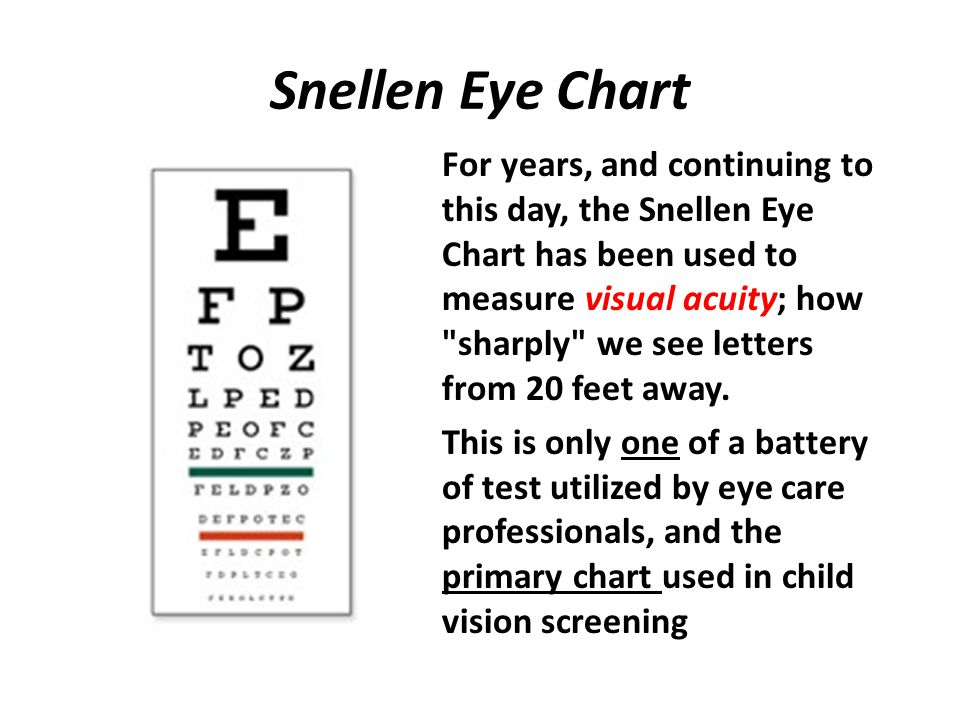 The Snellen Eye Chart doesn't do it While the test is helpful, it does not address many important aspects of vision and how we use our eyes.