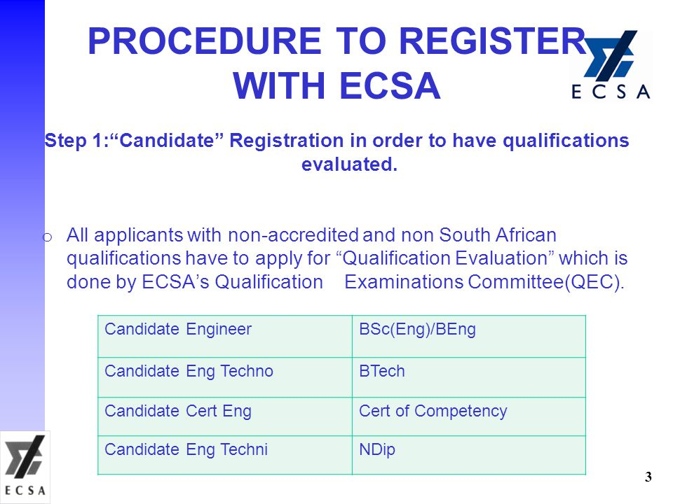 "Step 1:""Candidate"" Registration in order to have qualifications evaluated. o All applicants with non-accredited and non South African qualifications h"