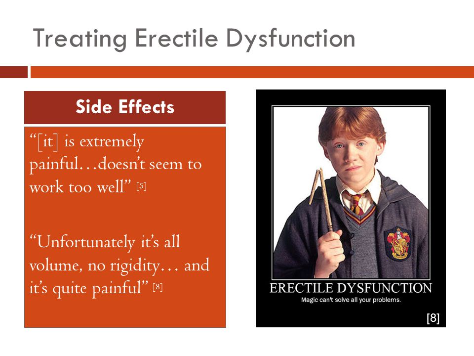 Treating Erectile Dysfunction [it] is extremely painful…doesn't seem to work too well [5] Unfortunately it's all volume, no rigidity… and it's quite painful [8] Side Effects [8]