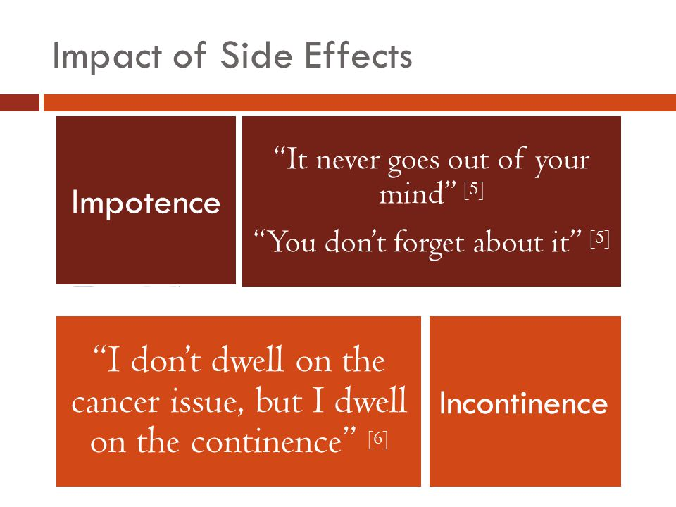 Impact of Side Effects It never goes out of your mind [5] You don't forget about it [5] I don't dwell on the cancer issue, but I dwell on the continence [6] Impotence Incontinence
