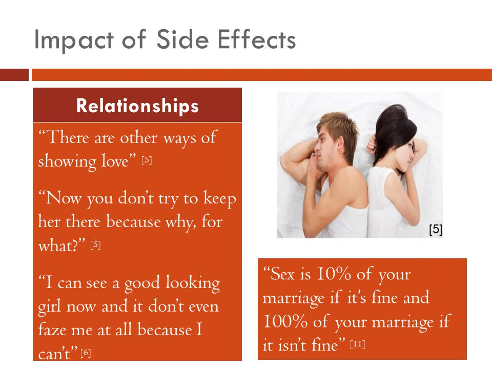 Impact of Side Effects There are other ways of showing love [5] Now you don't try to keep her there because why, for what? [5] I can see a good looking girl now and it don't even faze me at all because I can't [6] Relationships Sex is 10% of your marriage if it's fine and 100% of your marriage if it isn't fine [11] [5]