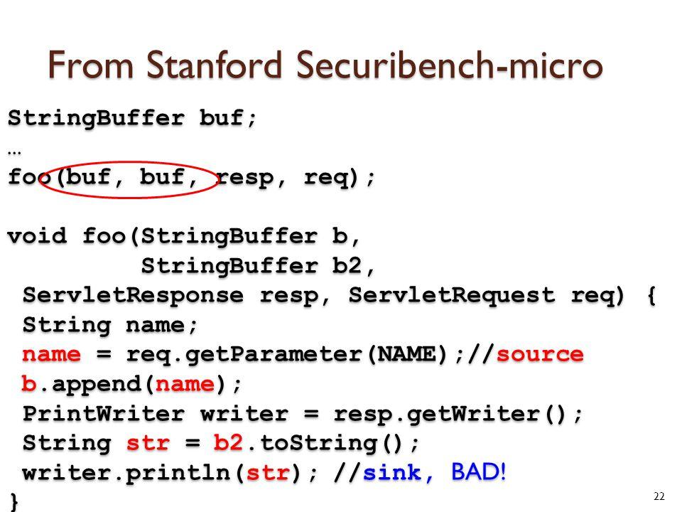 From Stanford Securibench-micro 22 StringBuffer buf; … foo(buf, buf, resp, req); void foo(StringBuffer b, StringBuffer b2, ServletResponse resp, ServletRequest req) { String name; name = req.getParameter(NAME);//source b.append(name); PrintWriter writer = resp.getWriter(); String str = b2.toString(); writer.println(str); //sink, BAD.