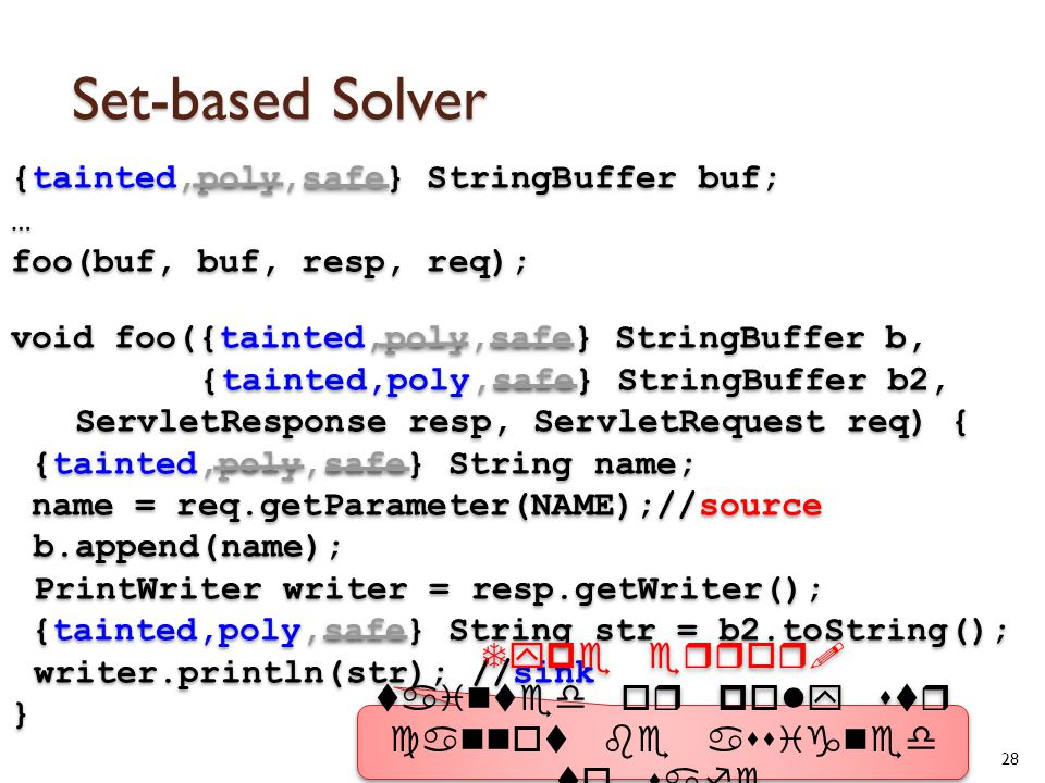 Set-based Solver 28 {tainted,poly,safe} StringBuffer buf; … foo(buf, buf, resp, req); void foo({tainted,poly,safe} StringBuffer b, {tainted,poly,safe} StringBuffer b2, ServletResponse resp, ServletRequest req) { {tainted,poly,safe} String name; name = req.getParameter(NAME);//source b.append(name); PrintWriter writer = resp.getWriter(); {tainted,poly,safe} String str = b2.toString(); writer.println(str); //sink } {tainted,poly,safe} StringBuffer buf; … foo(buf, buf, resp, req); void foo({tainted,poly,safe} StringBuffer b, {tainted,poly,safe} StringBuffer b2, ServletResponse resp, ServletRequest req) { {tainted,poly,safe} String name; name = req.getParameter(NAME);//source b.append(name); PrintWriter writer = resp.getWriter(); {tainted,poly,safe} String str = b2.toString(); writer.println(str); //sink } Type error.