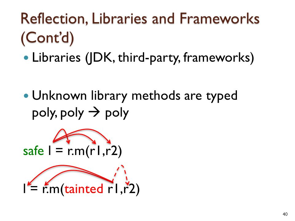 Reflection, Libraries and Frameworks (Cont'd) Libraries (JDK, third-party, frameworks) Unknown library methods are typed poly, poly  poly safe l = r.m(r1,r2) l = r.m(tainted r1,r2) 40