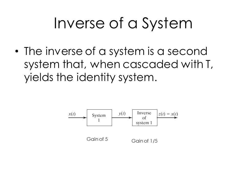 Inverse of a System The inverse of a system is a second system that, when cascaded with T, yields the identity system.