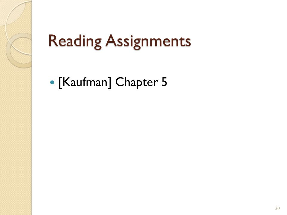 Reading Assignments [Kaufman] Chapter 5 30