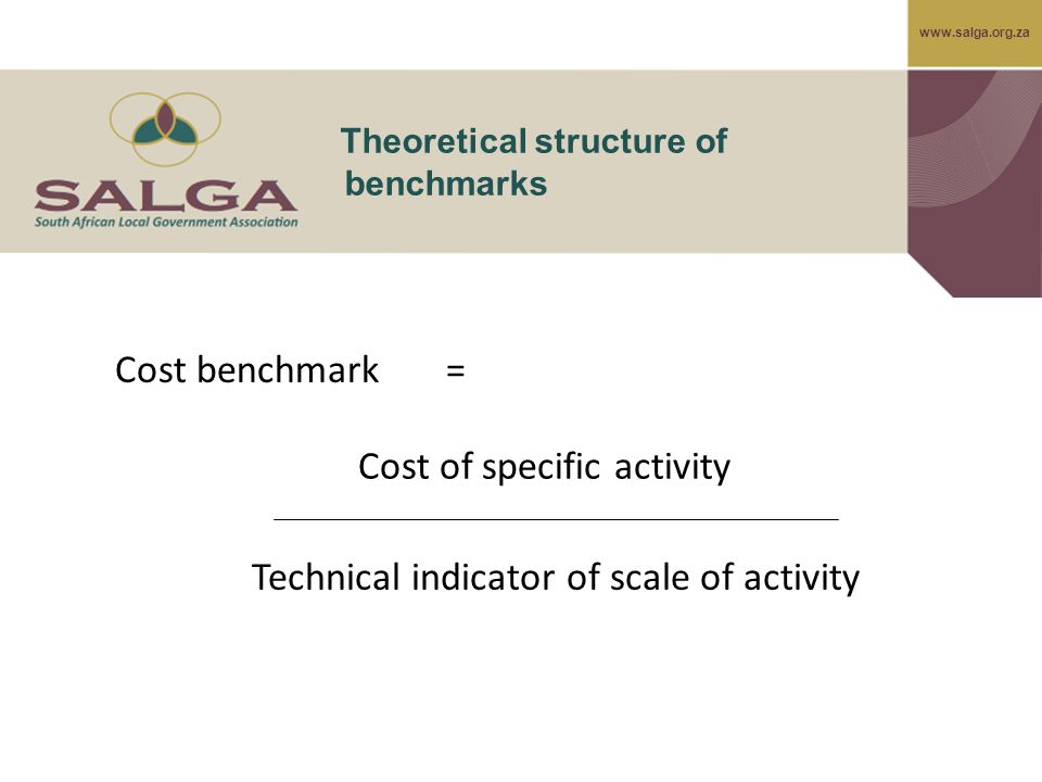www.salga.org.za Theoretical structure of benchmarks Cost of specific activity Technical indicator of scale of activity Cost benchmark =
