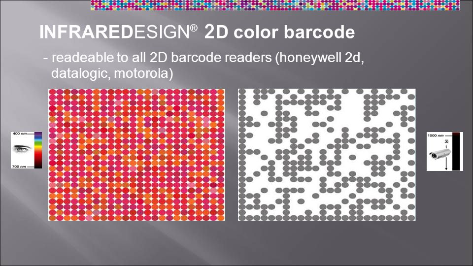 INFRAREDESIGN ® 2D color barcode - readeable to all 2D barcode readers (honeywell 2d, datalogic, motorola)