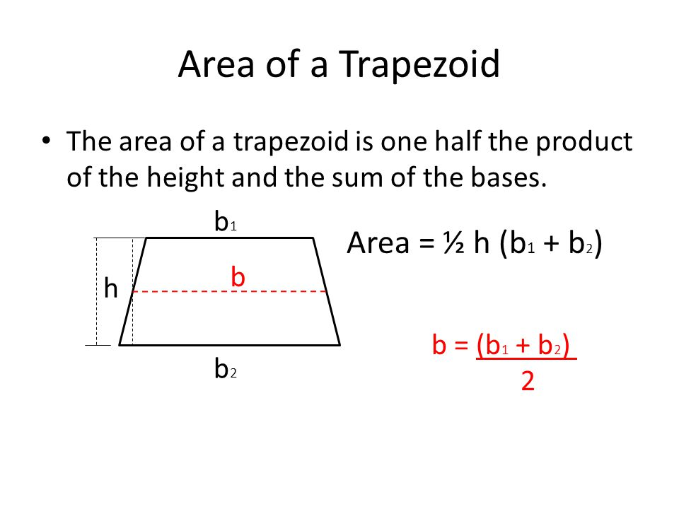 Area of a Trapezoid The area of a trapezoid is one half the product of the height and the sum of the bases.