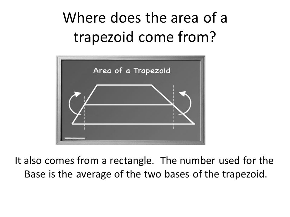 Where does the area of a trapezoid come from. It also comes from a rectangle.