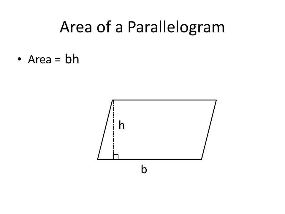 Area of a Parallelogram Area = h b bh