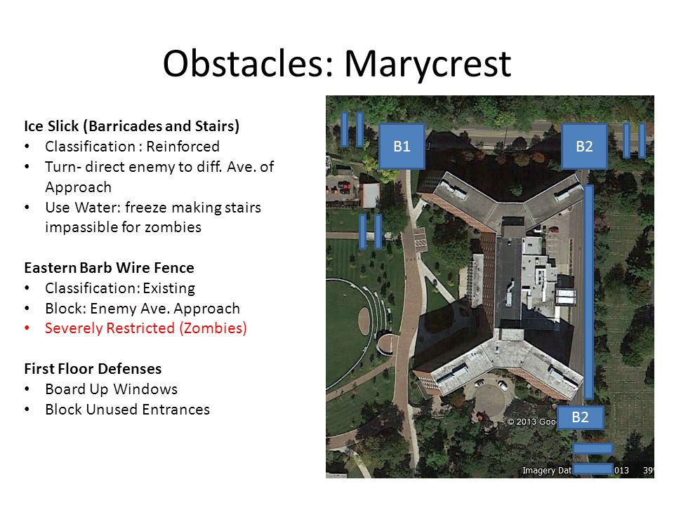 Obstacles: Marycrest B1B2 Ice Slick (Barricades and Stairs) Classification : Reinforced Turn- direct enemy to diff.