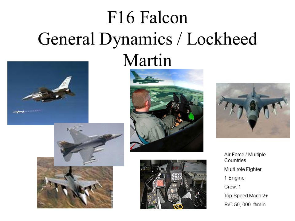 F16 Falcon General Dynamics / Lockheed Martin Air Force / Multiple Countries Multi-role Fighter 1 Engine Crew: 1 Top Speed Mach 2+ R/C 50, 000 ft/min