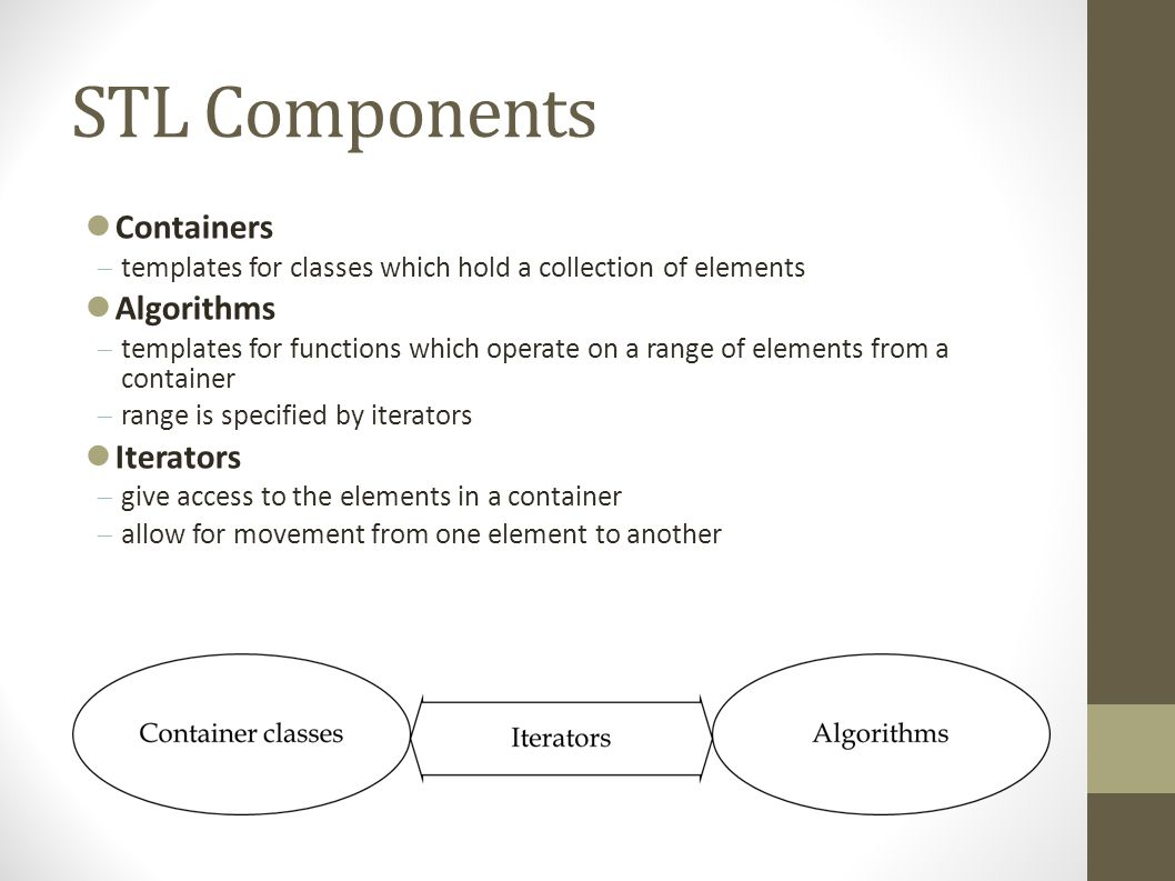 STL Components Containers  templates for classes which hold a collection of elements Algorithms  templates for functions which operate on a range of elements from a container  range is specified by iterators Iterators  give access to the elements in a container  allow for movement from one element to another