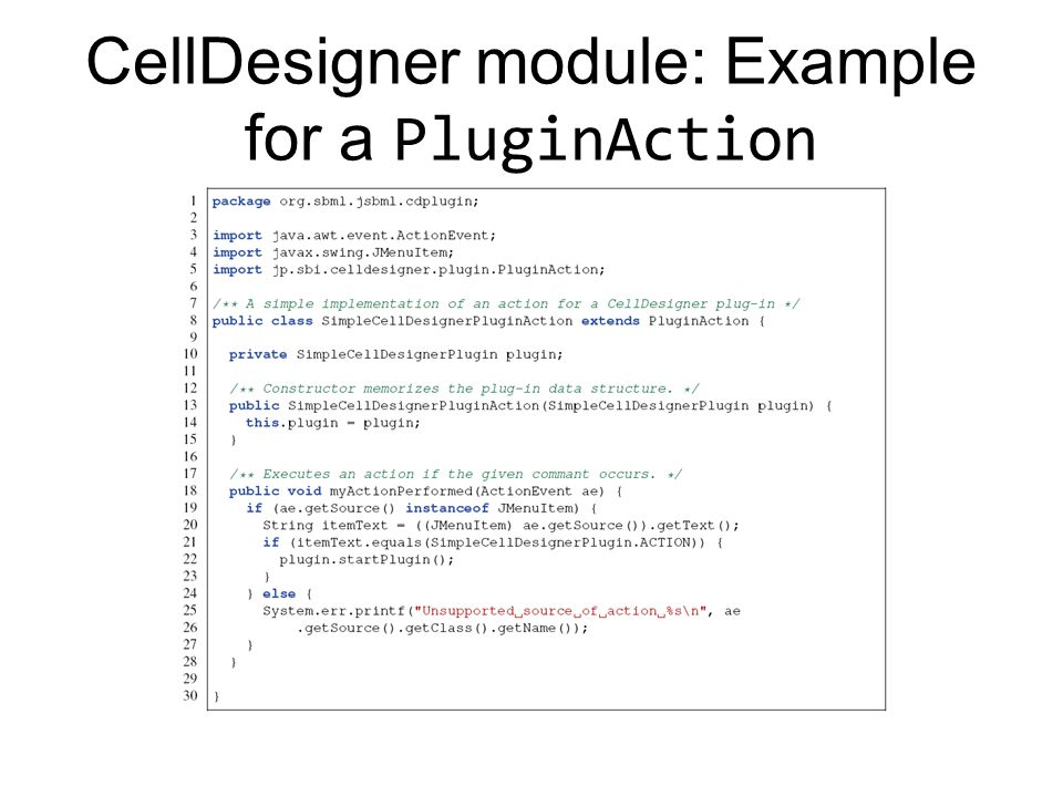 CellDesigner module: Example for a PluginAction