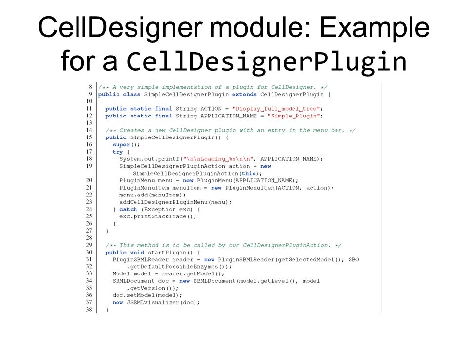 CellDesigner module: Example for a CellDesignerPlugin