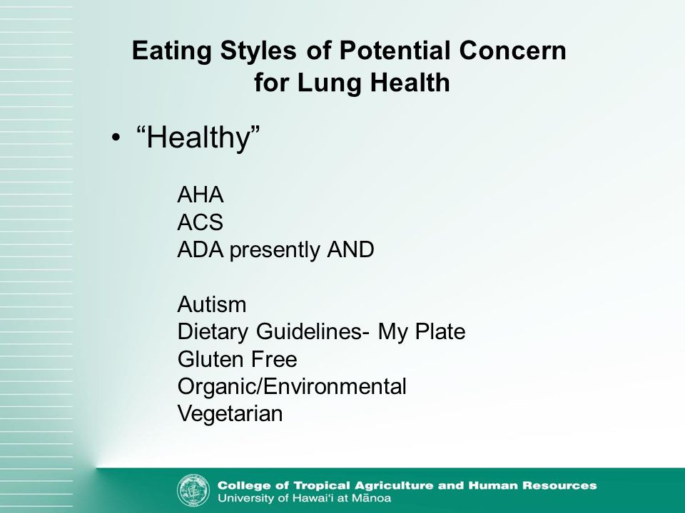 Eating Styles of Potential Concern for Lung Health AHA ACS ADA presently AND Autism Dietary Guidelines- My Plate Gluten Free Organic/Environmental Vegetarian Healthy