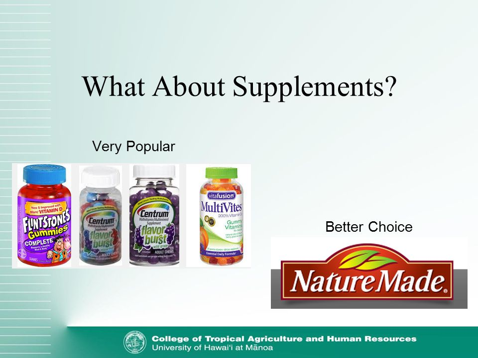 What About Supplements? Very Popular Better Choice