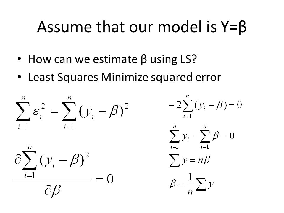 Assume that our model is Y=β How can we estimate β using LS? Least Squares Minimize squared error